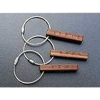 Schlüsselanhänger aus Holz   Nussbaum   mit Wunschnamen