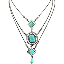 Yean Boho Collar geométrico con capas de turquesa para mujer y niña