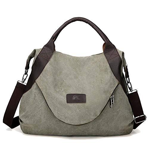 (Handtaschen Frauen Schulter Crossbody Taschen Damen Tote Hobos Handtaschen Große Retro Messenger Vintage Canvas Messenger Bag,Green)