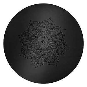 GXQ Runde Yoga-Matte Umweltfreundliche rutschfeste Naturkautschuk Meditation gedruckt Bodenmatte Teppich Meditation Matte Mehrzweck-Haushalt Outdoor-Kissen Multicolor (Color : Black)