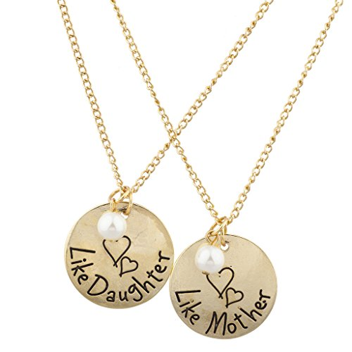 LUX Zubehör Gold Ton wie Mutter wie Tochter Gravur Halskette Set (2) (Zwei-ton-gold-schmuck)