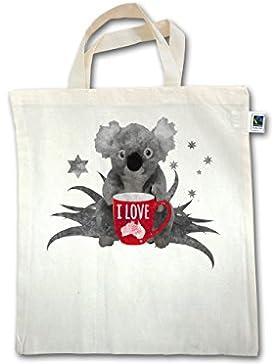 Kontinente - I love Australien Koala - Unisize - Natural - XT500 - Fairtrade Henkeltasche / Jutebeutel mit kurzen...