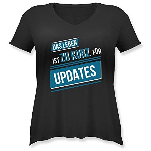 Statement Shirts - Das Leben ist Zu Kurz für Updates - S (44) - Schwarz - JHK603 - Weit Geschnittenes Damen Shirt in Großen Größen mit - Oversize-rechner
