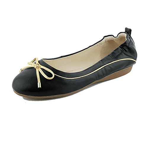 voguezone009-womens-solid-soft-material-low-heels-pull-on-round-closed-toe-pumps-shoes-black-35