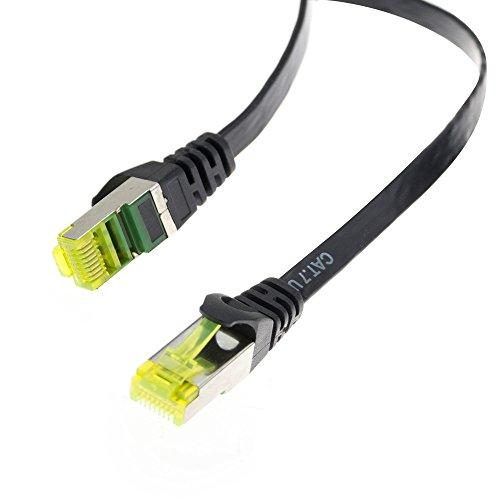 Adwits CAT 7 Ethernet Gigabit Lan Netzwerkkabel (RJ45 S/FTP) | hohe Übertragungsgeschwindigkeit durch Betriebsfrequenz mit bis zu 10 Gigabit 600 MHz|Patchkabel für Modem, Router, PC, Mac, Laptop, Playstation, XBox | Schwarz (1,0m - 1 Stück) (Laptop-modem)