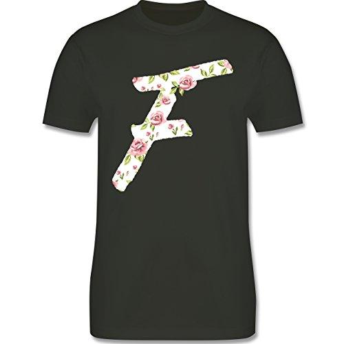 Anfangsbuchstaben - F Rosen - Herren Premium T-Shirt Army Grün