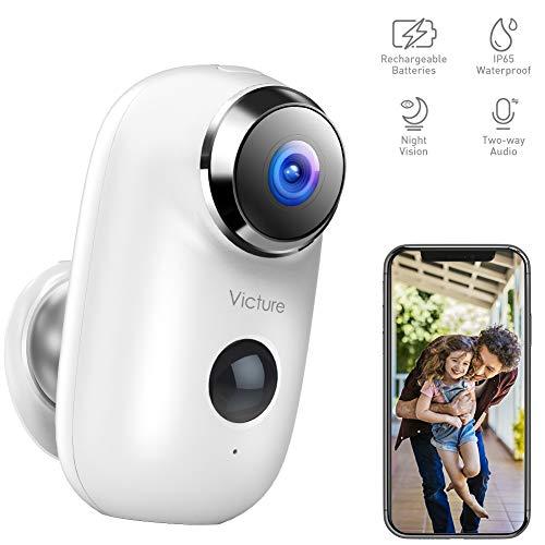 Victure 1080P Telecamera di Video sorveglianza Wi Fi Esterna Telecamera batteria senza Fili con PIR Rilevamento del Movimento Audio Bidirezionale IR
