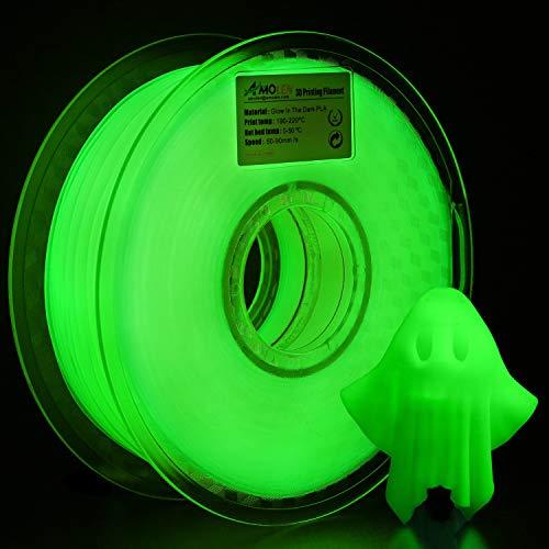 AMOLEN Stampante 3D Filamento PLA 1.75mm, Glow in the Dark Verde 1KG,+/- 0.03mm Materiali Filamenti per Stampanti 3D, include Campione Filamento Shining Porpora.