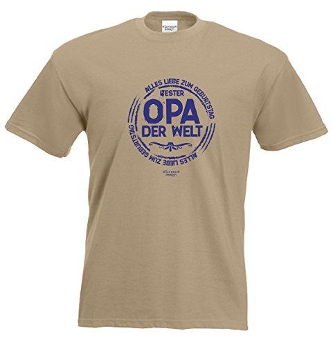 Herren Sprüche Fun T-Shirt wunderschönes Geburtstags-Motiv-Geschenk Bester Opa der Welt für Ihren Großvater auch 3XL 4XL 5XL Farbe: sand Sand
