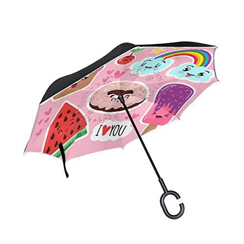 ALINLO Paraguas invertido diseño de Dibujos Animados de sandía arcoíris, Doble Capa, Paraguas inverso Impermeable para Coche Lluvia al Aire Libre con Mango en Forma de C