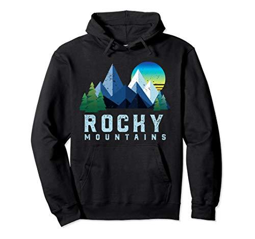 Vintage Rocky Mountains Retro Nationalpark Geometrisch Pullover Hoodie -