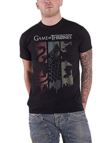 Game of Thrones T Shirt House Sigils Banner Distressed Logo officiel Homme Noir