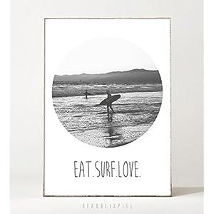 Kunstdruck / Poster EAT SURF -ungerahmt- Surfen, Reisen, Meer, Ozean, Wellen, Fernweh, Wassersport