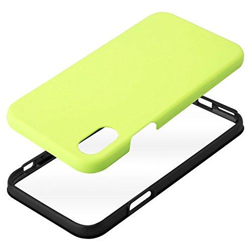 iPhone X Schutzhülle | JAMMYLIZARD 360 Grad Hülle [Orbit] 2-in-1 Komplett-Handyhülle Zweiteiliges Hard Case für Apple iPhone X Edition (2017), Transparent MATT NEONGELB