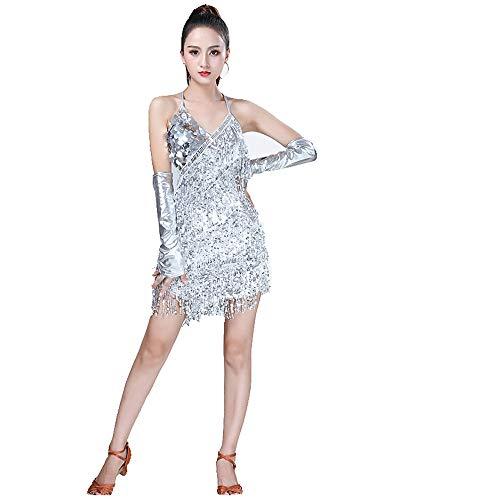 Frauen Dancewear Rückenfreies Pailletten Quasten Ballsaal Samba Tango Latin Dance Dress Wettbewerb Kostüme Sleeveless Sway Flapper Cocktailkleid (Farbe : Silber, Größe : ()