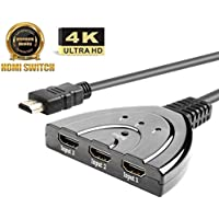 AMANKA HDMI Switch/Switcher 3x1 HDMI Stecker | Vergoldet 3 Port HDMI Umschalter 3X in/ 1x Out Verteiler | Full HD 1080p 4K 3D - Schwarz