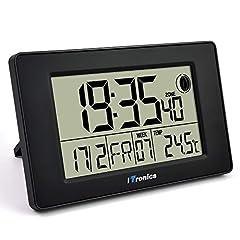 Idea Regalo - iTronics Orologio Radio da Parete Digitale con Indicatore di Temperatura Sveglia elettronica Conto alla rovescia, Nero