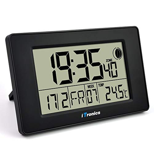 iTronics Digital Wall Clock Radio with Temperature Indicator Alarm Clock Countdown Timer, Black