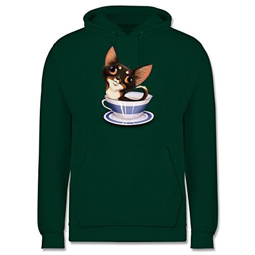 Hunde - Teacup Chihuahua - Männer Premium Kapuzenpullover / Hoodie Dunkelgrün