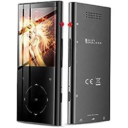 HIFI WALKER Lecteur MP3 avec Bluetooth, Lecteur de Musique avec Son sans Perte Écran 2,4 Pouces avec Radio FM Enregistreur Vocal Bouton Tactile Livre électronique