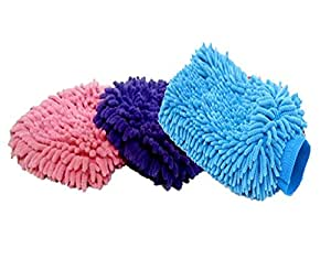 Autowizard Microfiber Glove Mitt for Car Cleaning Washing - Set of 3