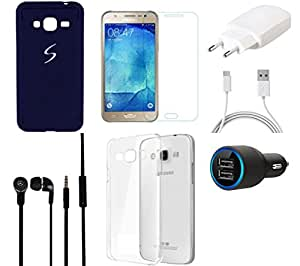 NIROSHA Tempered Glass Screen Guard Cover Case Charger Headphone for Samsung Galaxy J5 - Combo
