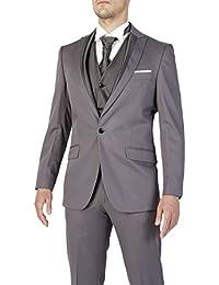Abito da sposo completo uomo FB CLASS sartoriale grigio nuovo vestito gilet  e cravatta d7406a2c4e2