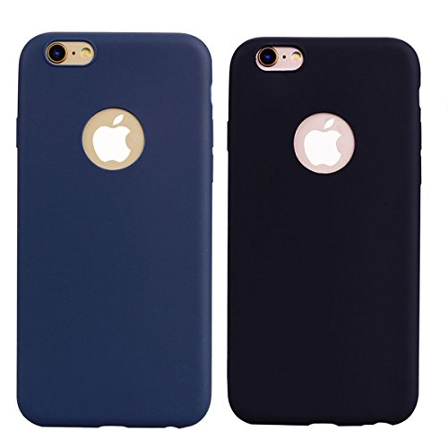 2x Cover iPhone 6 Plus / 6S Plus,ZHXMALL Custodia iPhone 6 Plus / 6S Plus Silicone Colore Candy TPU Flessibile Morbido Ultra Sottile Leggero Gel Gomma Cassa Protettiva Anti-urto Anti-Graffio Cellulari Nero + Blu