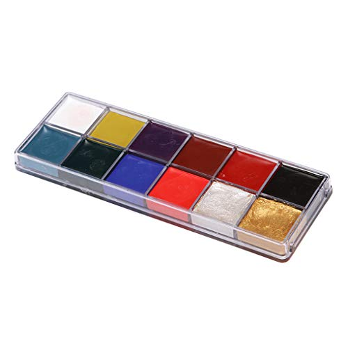 Homyl 12 Colors Face Paints Set Body Painting Palette Kit – Non-Toxic & Oil Based Body Makeup, Fancy Dress Halloween Make Up Kit