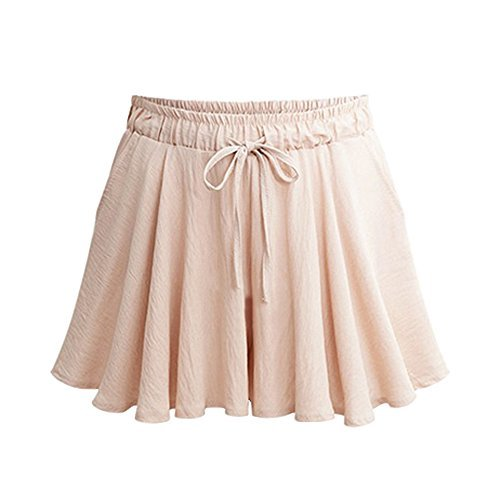 Women's Casual Elastic Waist Culottes A Line Drawstring Wide Leg Shorts