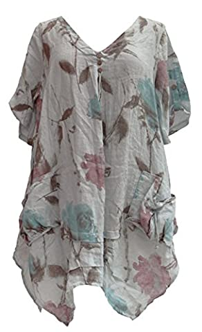Ladies Womens Italian Lagenlook Quirky Layering Short Sleeve V Neck 3 Button Floral Print Linen Tunic Dress Pockets Rushed One Size XL Plus (One Size, Light Grey)