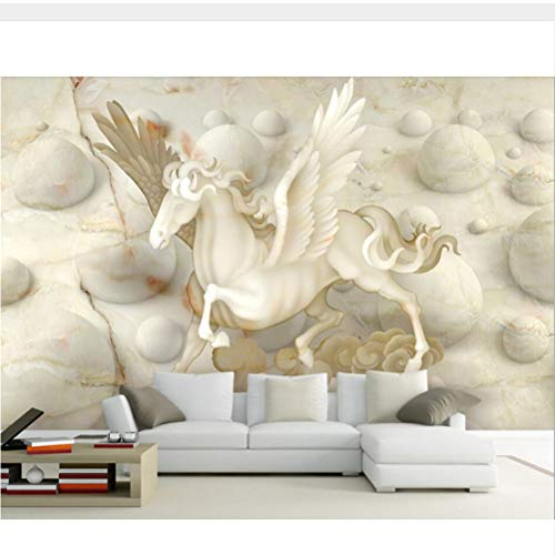 Meaosy Pegasus Marmor Relief 3D Tapete Wandgemälde, Wohnzimmer Tv Sofa Wand Schlafzimmer Küche Tapeten Wohnkultur Café-120X100Cm