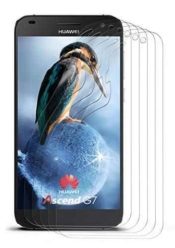 moex 5X Huawei G7 | Schutzfolie Klar Bildschirm Schutz [Crystal-Clear] Screen Protector Display Handy-Folie Dünn Bildschirmschutz-Folie für Huawei Ascend G7 Bildschirmfolie