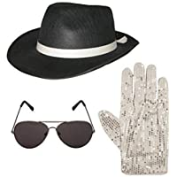 Michael Jackson style 3pc Set Hat Glove Aviator Shades 1980s Fancy Dress  (BLACK) 9ea9ce020afa