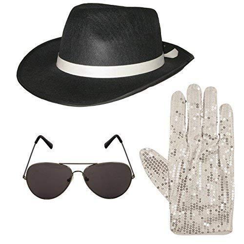 Unbekannt Michael Jackson Style 3 tlg Satz Hut Aviator Sonnenbrille 1980s Jahre Kostüm (schwarz)