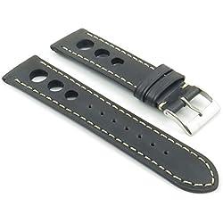 DASSARI Carrera Black Distressed Leather GT Rally Racing Watch Strap size 24mm 24/22