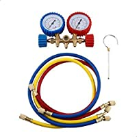 Car Auto A/C Refrigeration Air Conditioning AC Diagnostic Manifold Gauge Maintenence Tool With Hose And Hook Kit