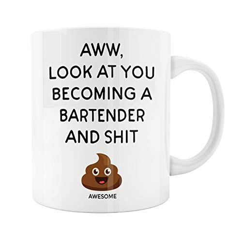 Lplpol Ceramic Tea Cup, Bartender Hostess Mug Gift Bar Beer for Shaker Drinkers Drinking Dad Mom Brew Pub Anniversary Christmas Birthday Present Funny Coffee Cup, 11 oz Mug -