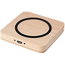 Cargador inalámbrico soporte de carga para iPhone 66Plus Sansung S6S6Edge Smartphone cuadrado de madera diseño de Fashinable Simple Alta Eficiencia Alta Velocidad Ultra-delgada Superficie Antideslizante antiarañazos Segura Estable