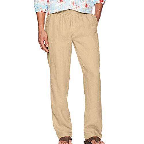 Innerternet ❤️ Pantaloni da Uomo100% in Lino Pantaloni Uomini Casuale Coulisse in Vita Pantaloni Lunghi da Uomo di Colore Solido Traspiranti Morbidi Bianco, Nero, Cachi