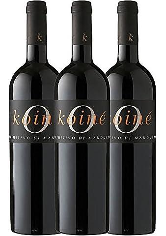 3er Paket - Koiné Primitivo di Manduria DOC 2015 - Casa Vinicola Carlo Botter   trockener Rotwein   italienischer Rotwein aus Apulien   3 x 0,75 Liter