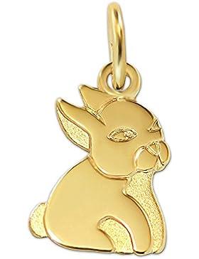 CLEVER SCHMUCK-SET Goldener Anhänger Mini Hase 10 mm flach, matt und glänzend 333 GOLD 8 KARAT