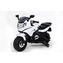 Moto eléctrica para niños de 12v, estilo BMW STYLE, ruedines desmontables, equipo audio, 12 Voltios COLOR BLANCO