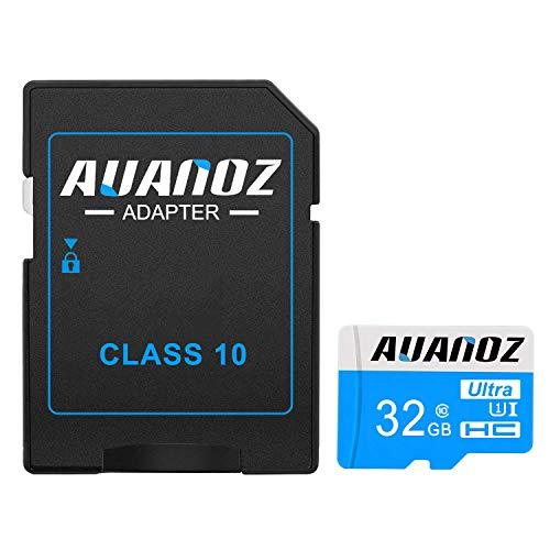 Auanoz TF-Speicherkarte 32GB, Ultra Klasse 10 UHS-I High Speed Speicherkarte für Telefon, Tablet und PC - mit Adapter.(Blau-32gb)