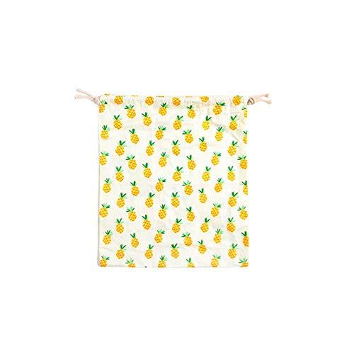 n Baumwolle Kordelzug Baumwolle Solide Ananas Muster Favor Bag Schmuck Beutel für Reisen Rucksäcke Home Storage Taschen Langlebig und praktisch ()
