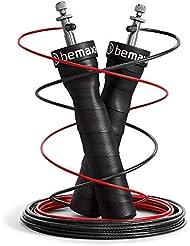 Corde à Sauter Ajustable Speed Rope + livret d'Exercices & câble de Rechange | Roulements à Billes Expert, poignées antidérapantes | Sport, Crossfit, Fitness, Boxe