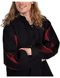 Chemise de lansquenet médiéval coton lin noir rouge