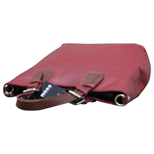 ital. Tasche Damentasche Ledertasche Handtasche Tragetasche LEDER Made in Italy , Farbe:Rot Rot