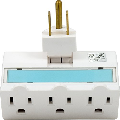 GE 14442 Three-Outlet Polarized Grounded Swivel Power Tap Night Light, White with Soft Blue Glow by GE