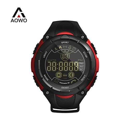 AOWO X7 Bluetooth Smartwatch Männer Digital Smart Uhr IP68 Wasserdicht 5ATM Anruf SMS Benachrichtigung Sport Smartwatch mit LED-Hintergrundbeleuchtung für Android IOS iPhone (Rot)